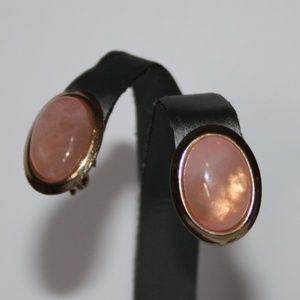 Beautiful gold and rose quartz vintage earrings